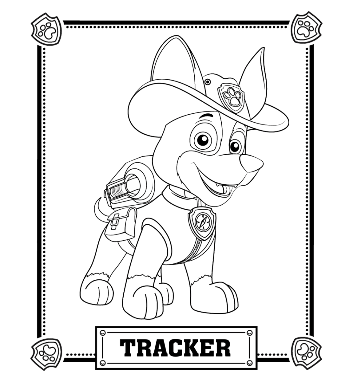 Paw patrol coloring pages happy birthday - Paw Patrol Tracker Coloring Pages