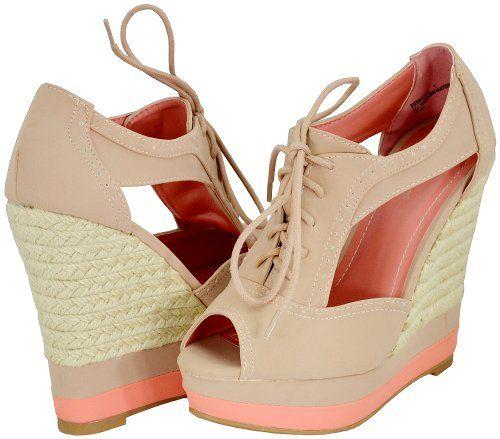 Amazon.com: Bamboo Energy-21 Nude Women Wedge Pumps: Shoes