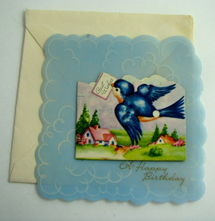 Vintage blue bird greeting cards vintage early 1940 plastic blue vintage blue bird greeting cards vintage early 1940 plastic blue with tiny greeting card m4hsunfo Image collections