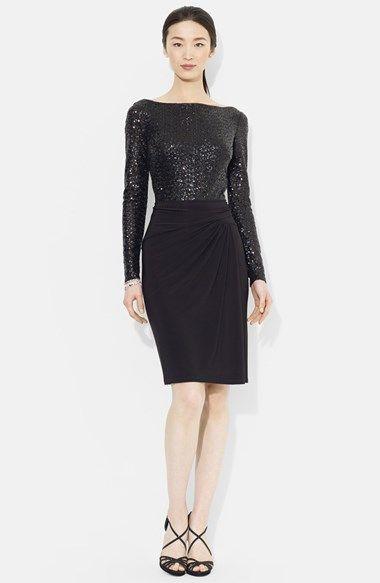 Lauren Ralph Lauren Sequin Bodice Jersey Sheath Dress available at  #Nordstrom