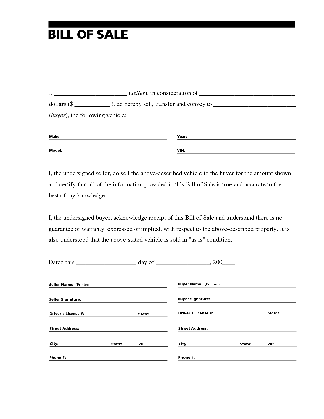 generic bill of sale form