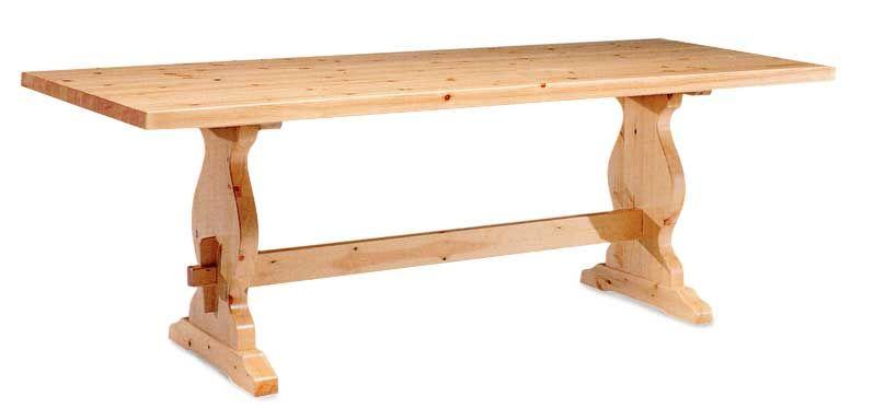 Tavolo rustico con gamba fratino in legno massello di pino di Svezia ...