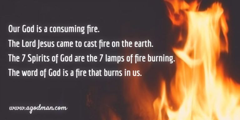 Our God is a consuming fire. The Lord Jesus came to cast fire on the earth. The seven Spirits of God are the seven lamps of fire burning. The word of God is a fire that burns in us.