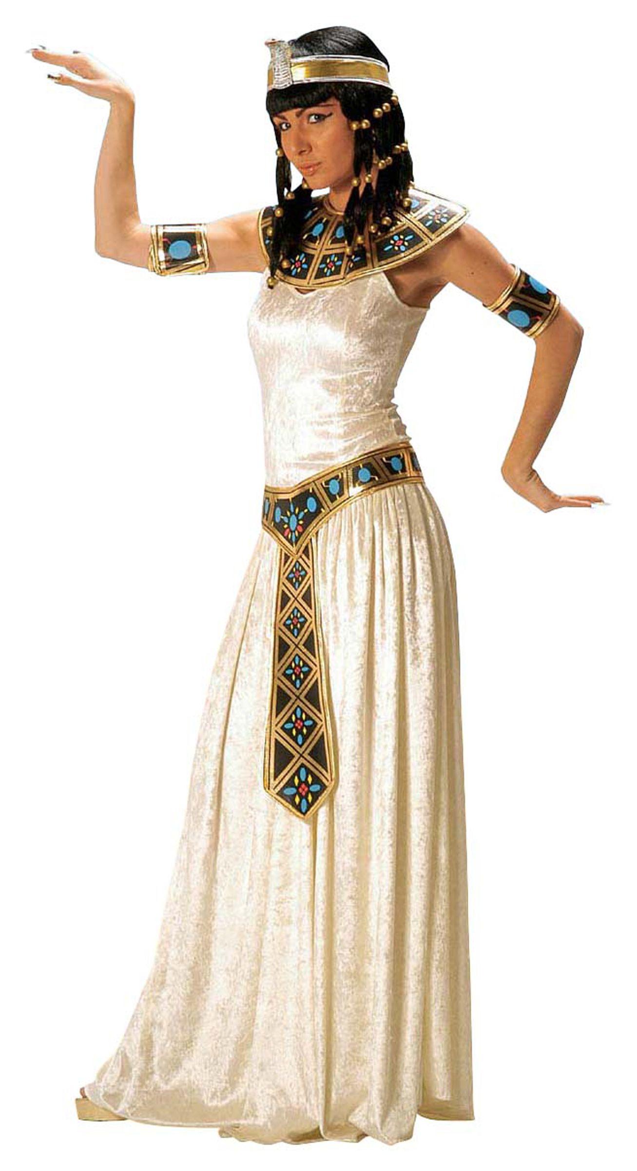 5e14a61253b13 Disfraz de faraona egipcia para mujer  Disfraz de faraona egipcia compuesto  por un vestido de imitación de terciopelo color blanco-crema.
