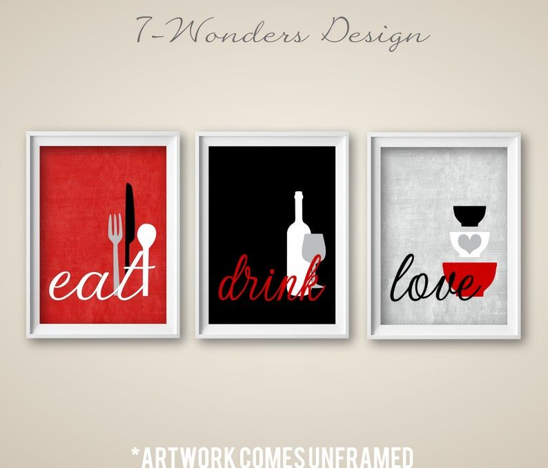 kitchen wall art print set eat drink love red grey black white modern kitchen decor set on kitchen decor paintings prints id=70092