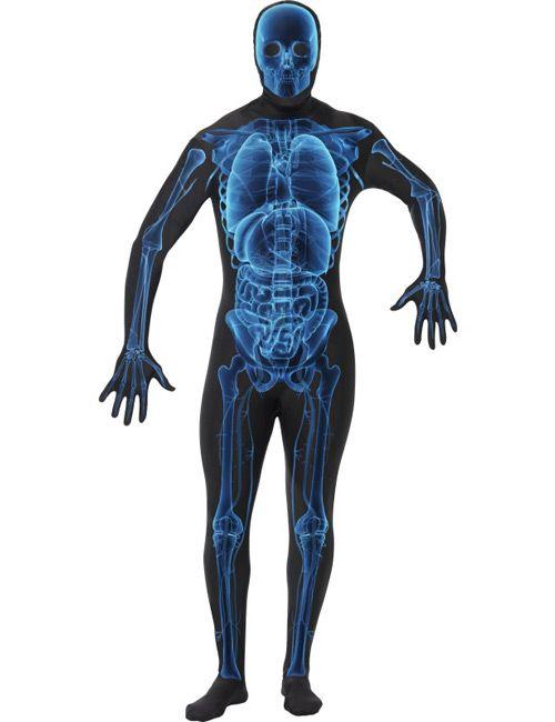 Second Skin Suit Skelett Röntgenstrahlen Halloween Kostüm schwarz-blau aus unserer Kategorie Second Skin Kostüme. Lassen Sie Ihre Freunde in Ihr tiefstes Inneres schauen! Dieser Ganzkörperanzug ist einfach atemberaubend - ein echter Blickfang an Fasching, Halloween und auf Mottopartys!
