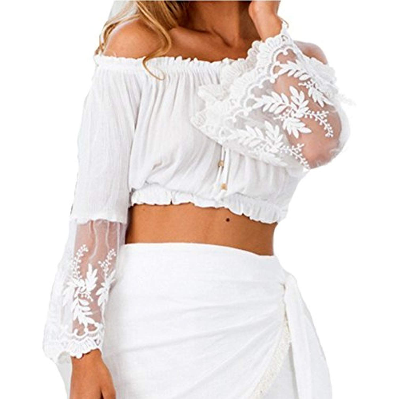 34dd14ff207cb7 Women s Off Shoulder Stripe Casual Blouse Shirt Top Cher Lace Crop White     Details can