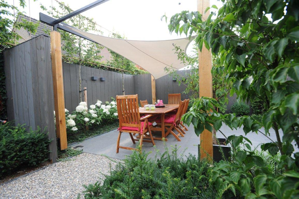 Zonnedoek schutting hortensia s beplanting kleine tuin