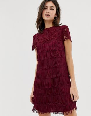 fd61da114c71 Oasis shift dress with lace and fringing red | DRESS for success ...