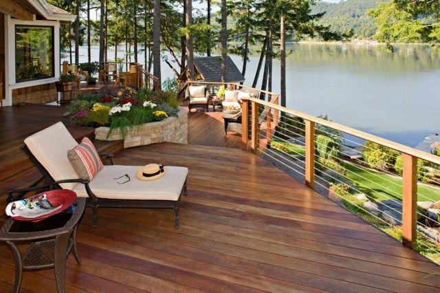 Holz Terrasse Edelstahl Holzleisten Waagerecht Gelander Aussengelander Terrassen Design Coole Terrasse
