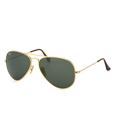 Gold 58-mm Titanium Aviator Sunglasses #zulily #zulilyfinds