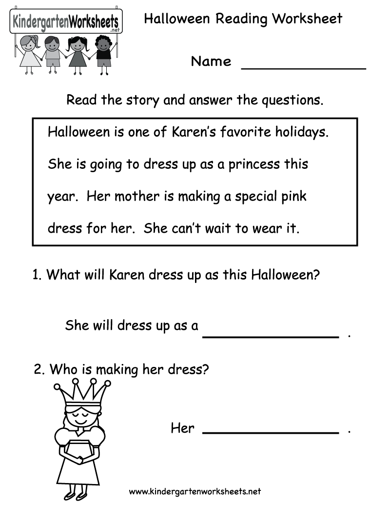 Worksheets Reading Worksheet kindergarten halloween reading worksheet printable free comprehension holiday for kids
