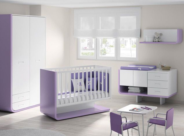 ros1sa m bel ideen babyzimmer komplett wei lila modern. Black Bedroom Furniture Sets. Home Design Ideas