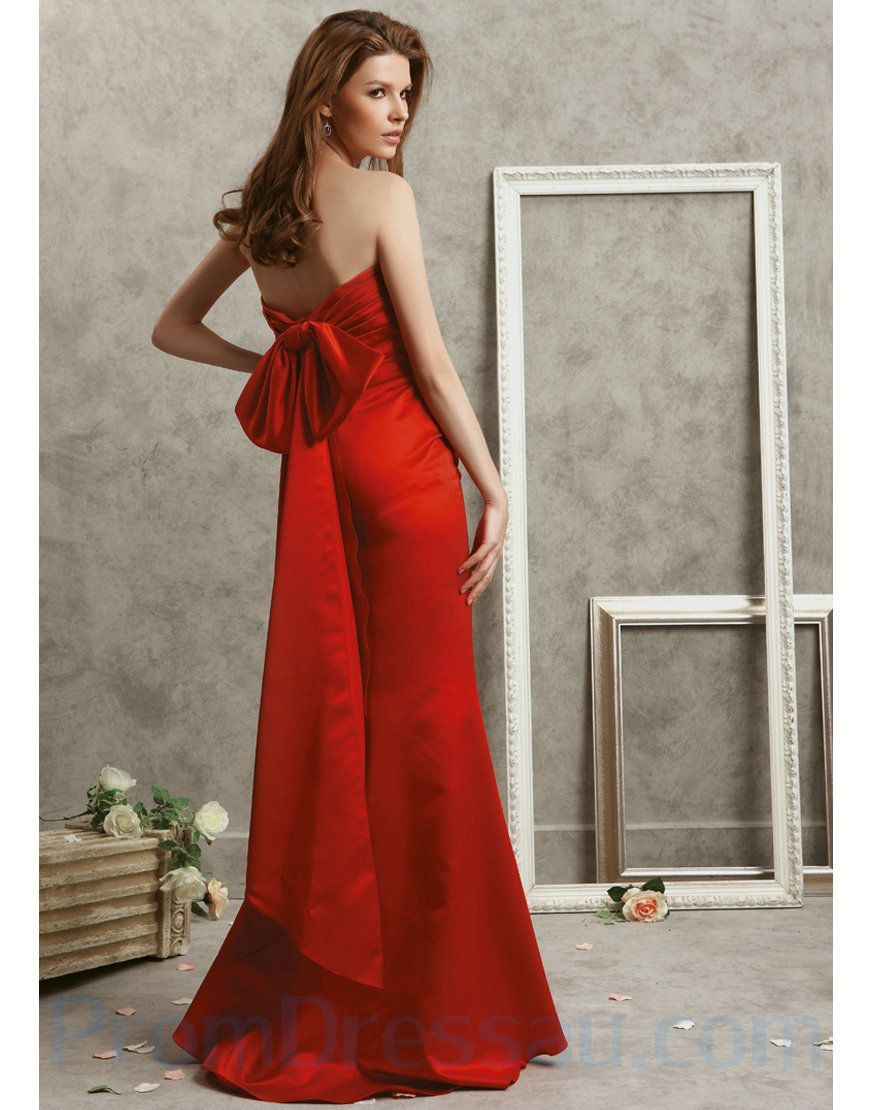 Sweetheart satin fitted long red prom dresses with a big bow on the