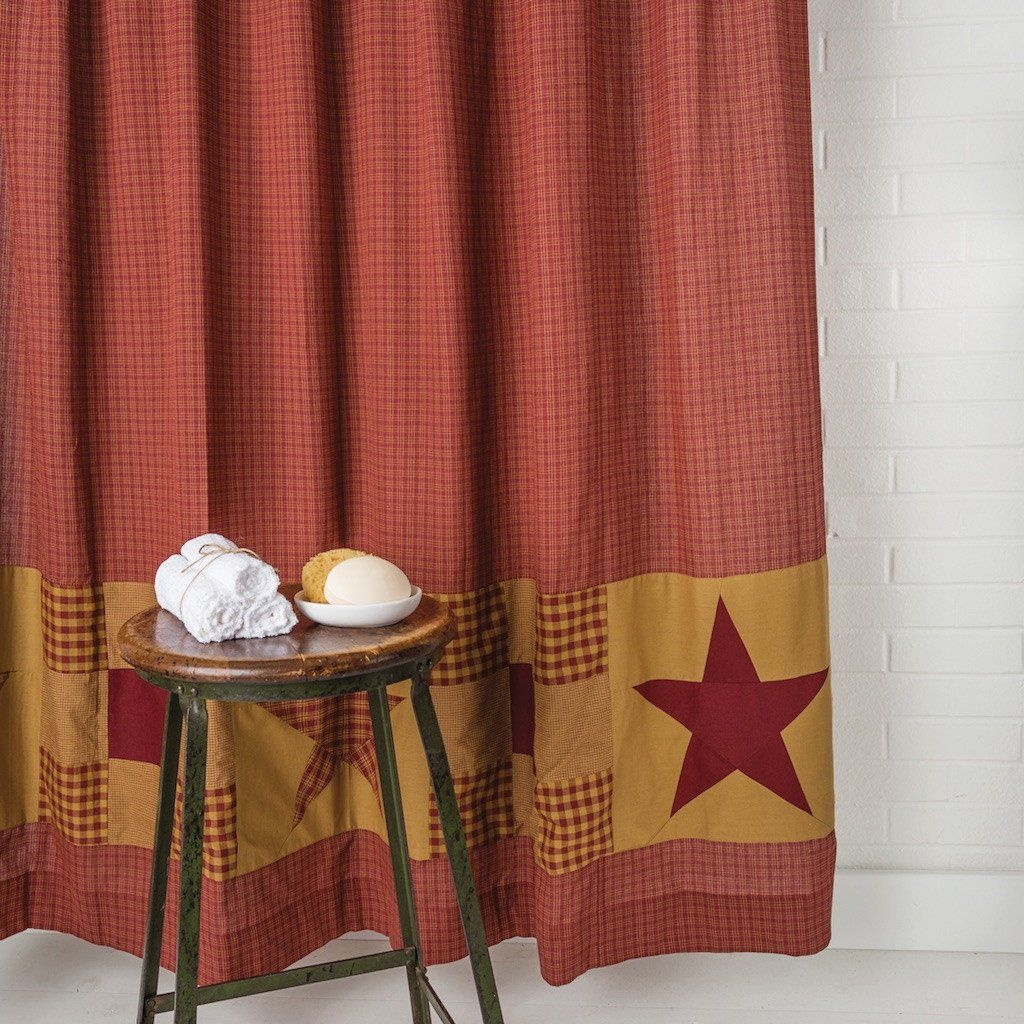 Ninepatch Star Shower Curtain Primitive Bathrooms Country Shower Curtain Bathroom Red