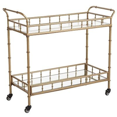 "Gold+Bar+Cart: Mirror/glass+shelves.+37""W+x+14""D+x+32""."