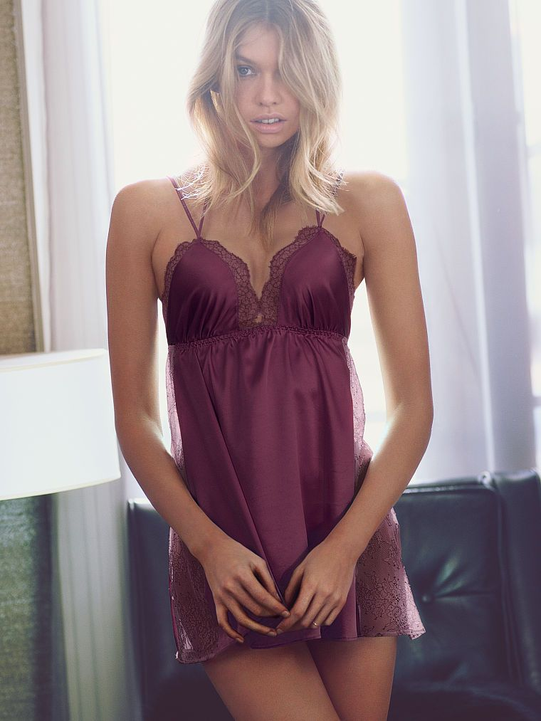 ff0b6f3043be Even steamy nights can use a little extra sizzle...AKA satin lingerie.   Victoria's  Secret Lace-trim Satin Babydoll