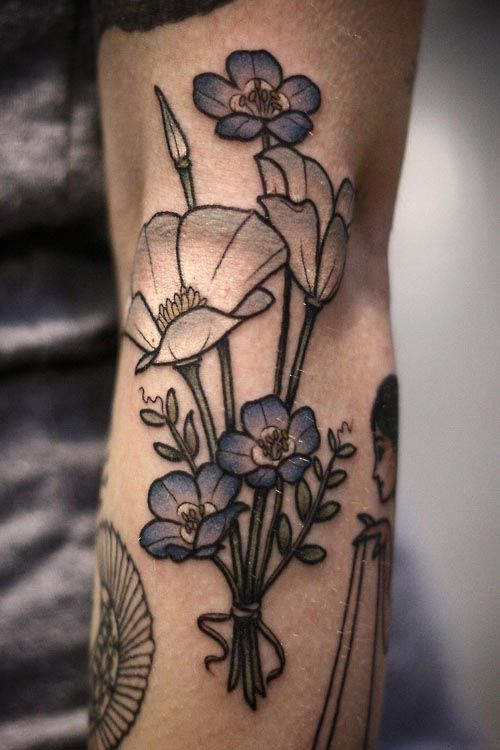 88 Best Flower Tattoos On The Internet: Forget-me-not Blue Flower Tattoo