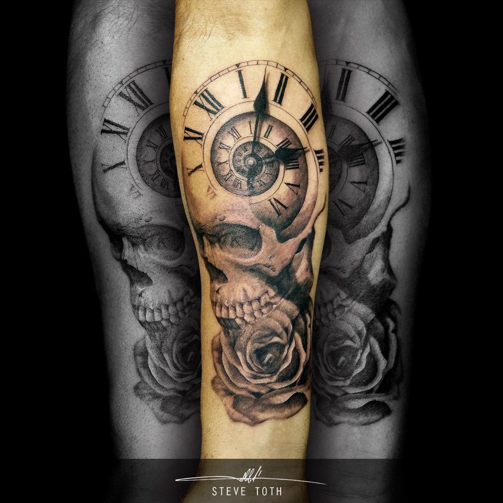 Skull Rose Clock tattoo - Steve Toth