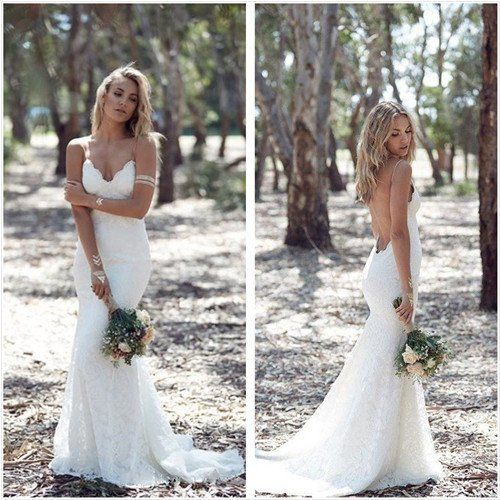 Bohemian mermaid lace wedding dress spaguetti straps open back ...
