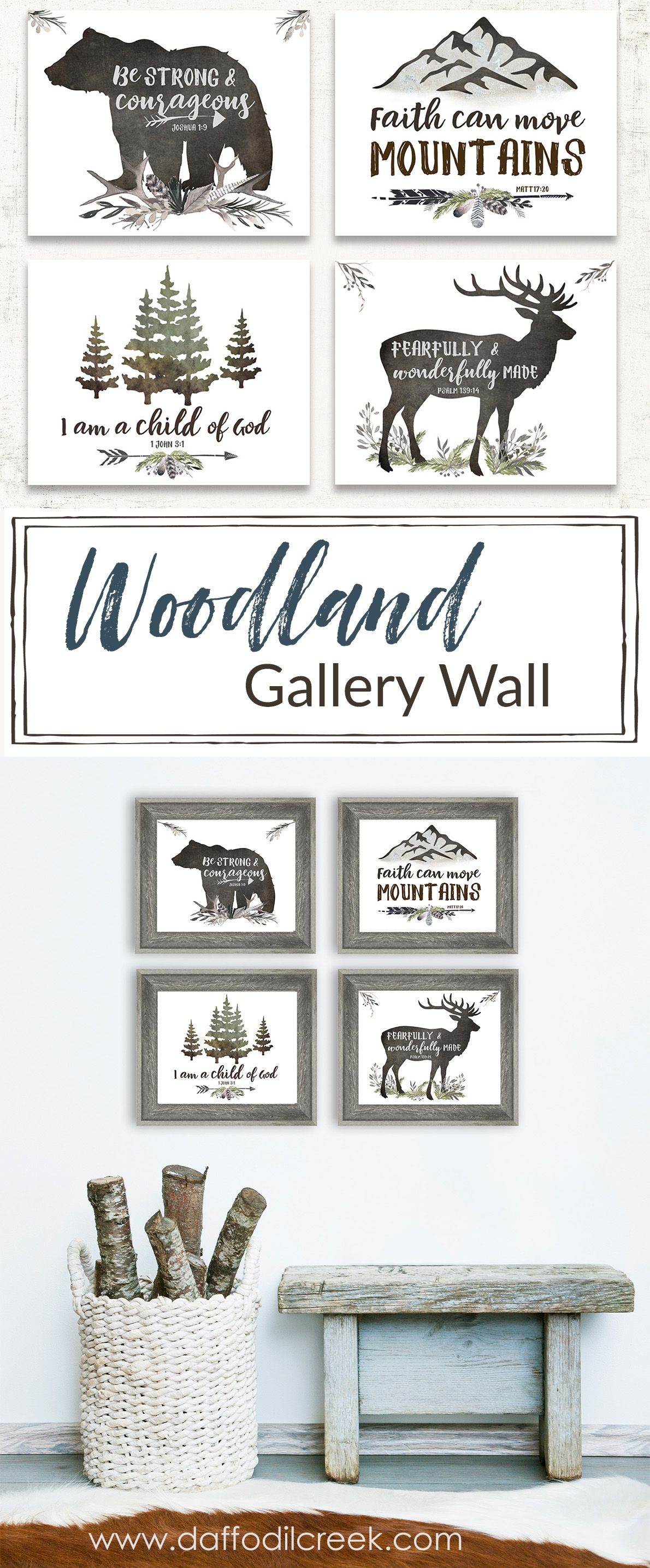 Rustic Woodland Set Of Four Lettered Prints Rustic Boys