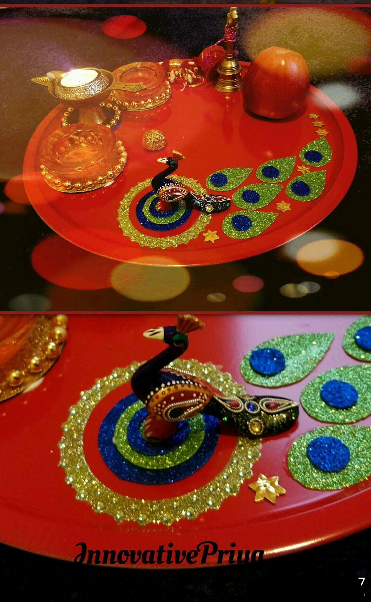Diwali Decoration Ideas And Crafts Pin By Dhanashree J On Decorations Arti Thali Decoration