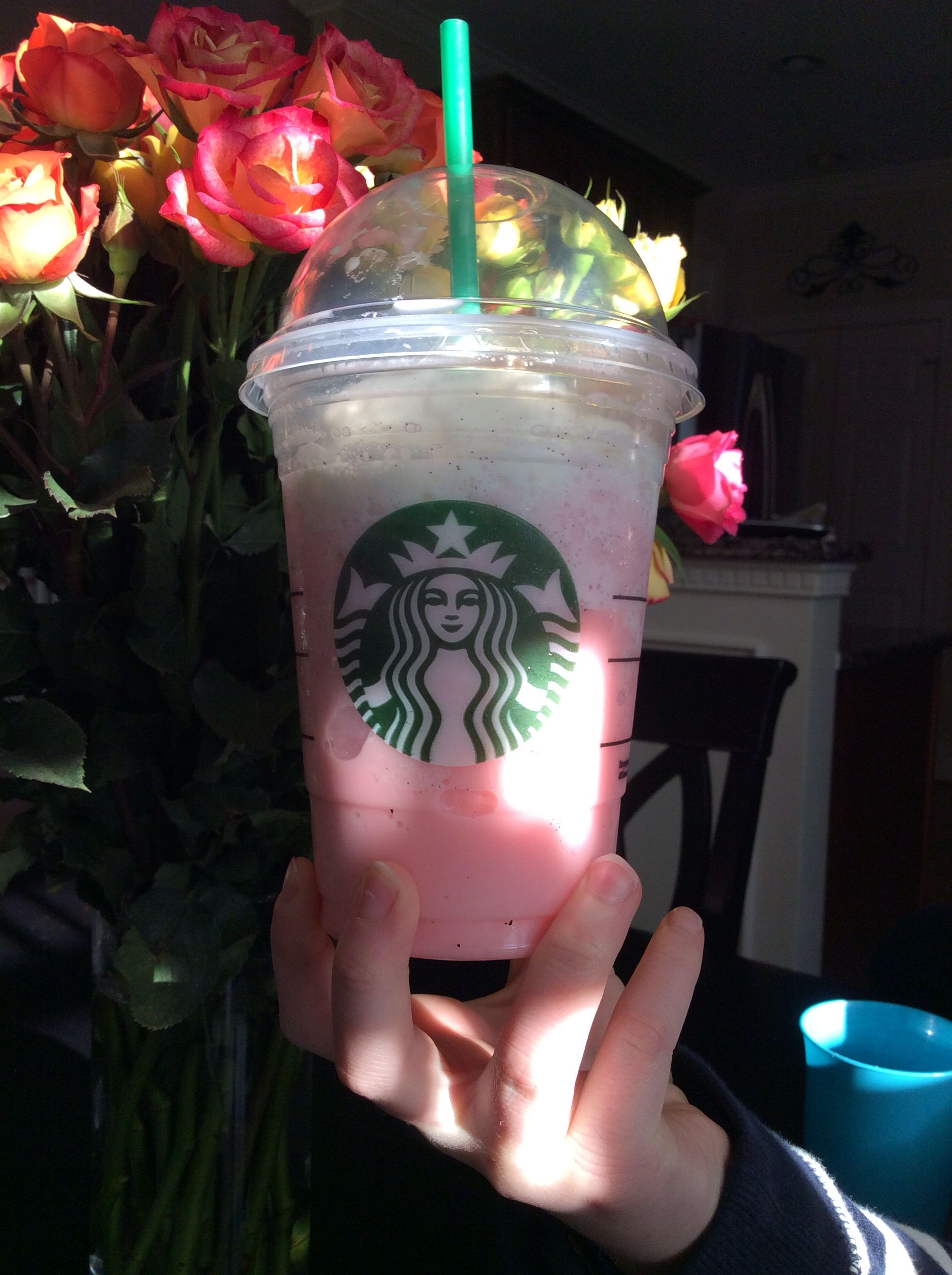 Starbuck's secret menu Cotton Candy Frappuccino. It is just a vanilla bean creme with a pump of raspberry syrup. They were NOT lying when they said it tasted like cotton candy!
