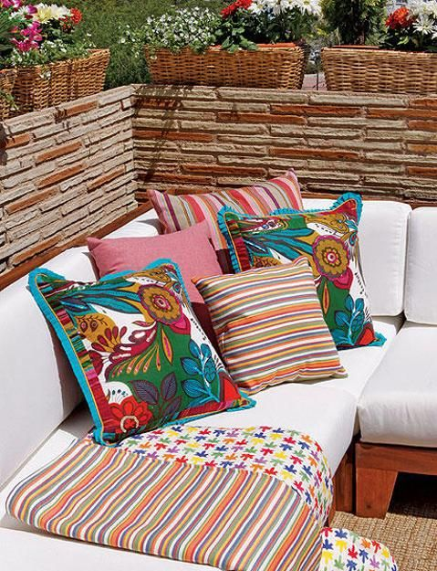 Outdoor Home Decor Ideas Bright Color Schemes Colorful Cushions And Beautiful Flowers Outdoor Furniture Decor Outdoor Garden Furniture Clean Patio