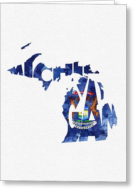 Michigan typographic map flag greeting card by ayse deniz state explore greeting card michigan and more m4hsunfo