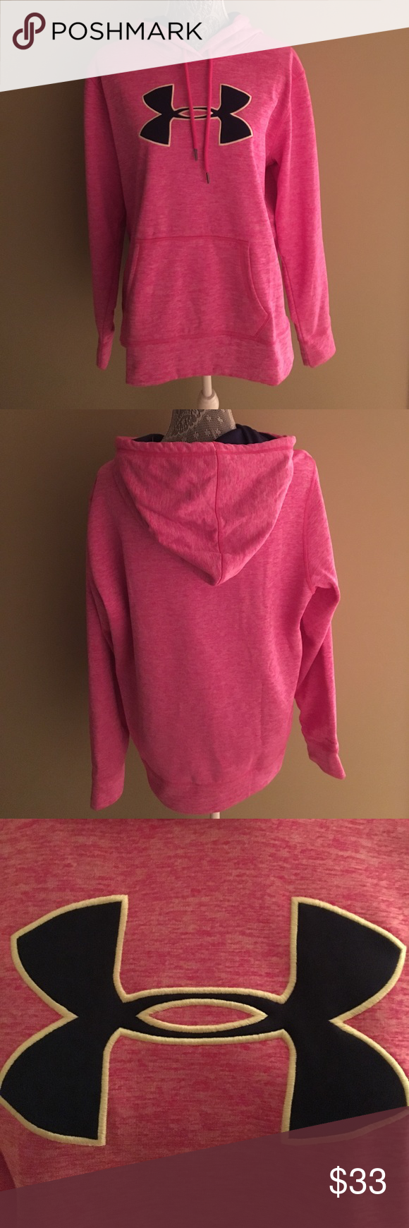 NWT Under Armour Hoodie NWT Under Armour Hoodie. Pink and white w/navy logo. Size XL Under Armour Tops Sweatshirts & Hoodies