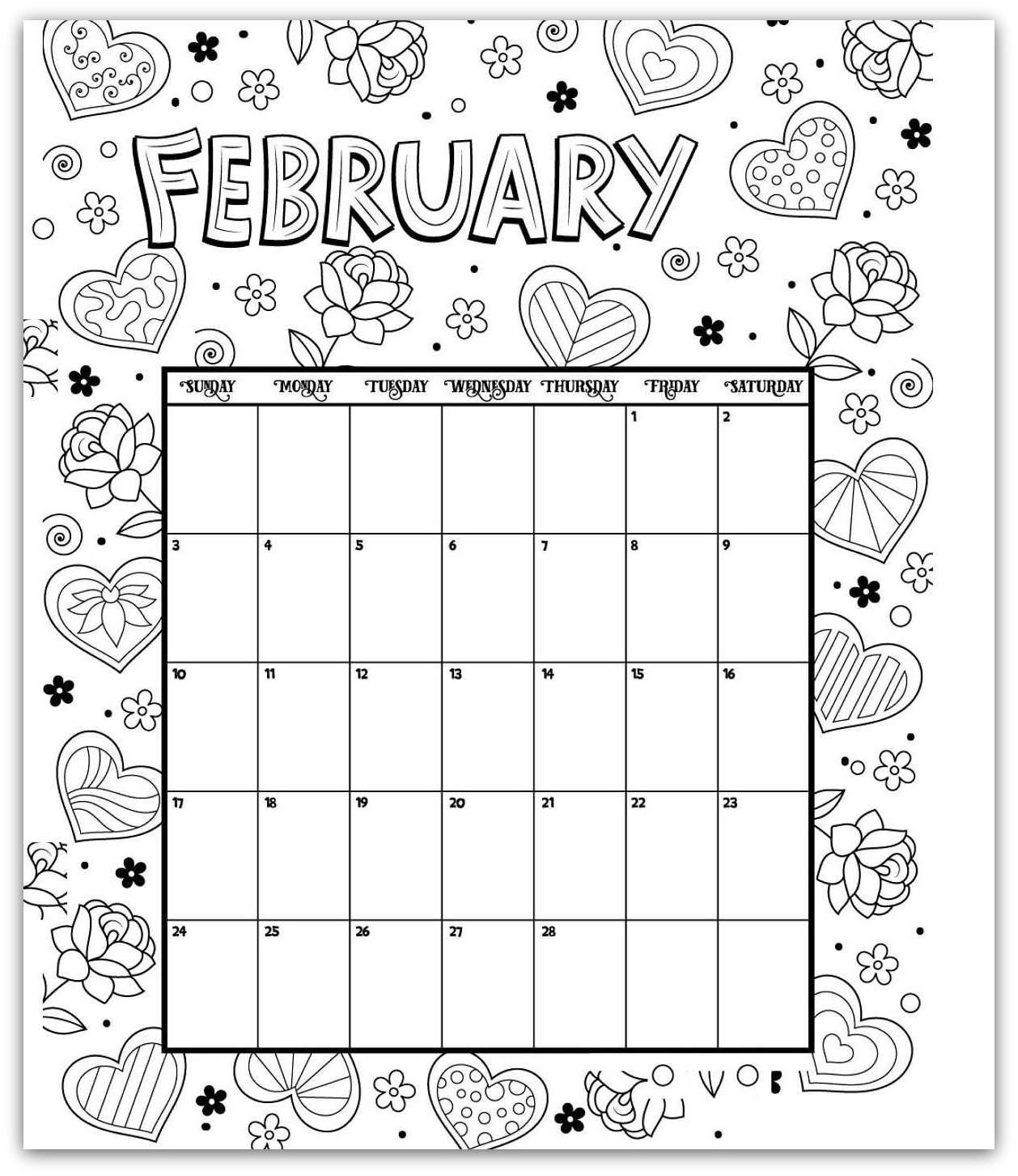 february 2019 coloring page printable calendar | Kids ...