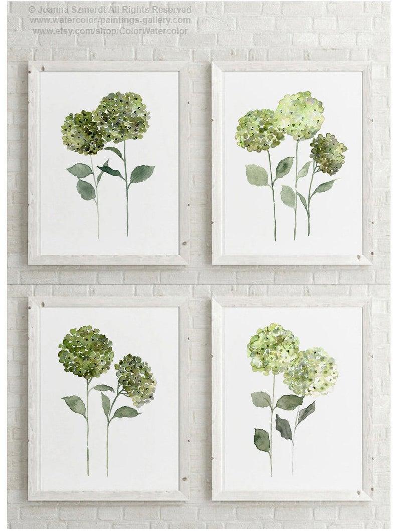 Hydrangea Emerald Green Flowers Set 4 Watercolor Paintings Etsy Floral Watercolor Hydrangeas Art Floral Painting