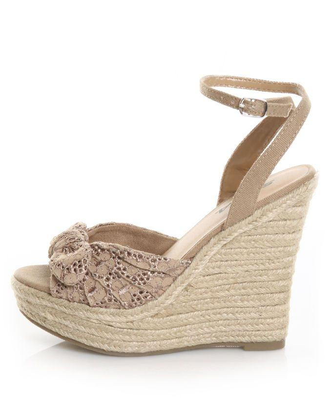 ae85b8f70d8 Soda Quota Natural Knotty Bow Espadrille Wedges | Shoe Love ...