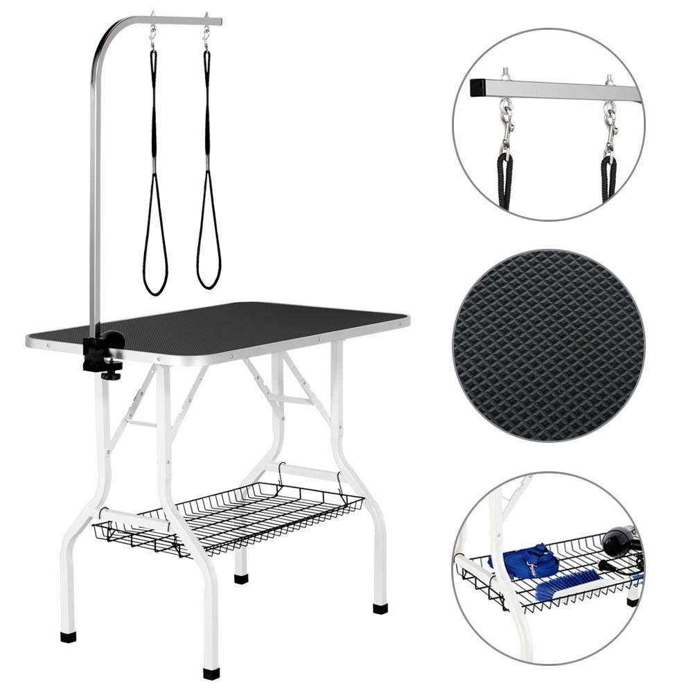 Yaheetech 32 36 Inch Pet Dog Cat Grooming Table Professional Foldable Height Adjustable Drying Table W Arm In 2020 Cat Grooming Dog Grooming Pet Dogs