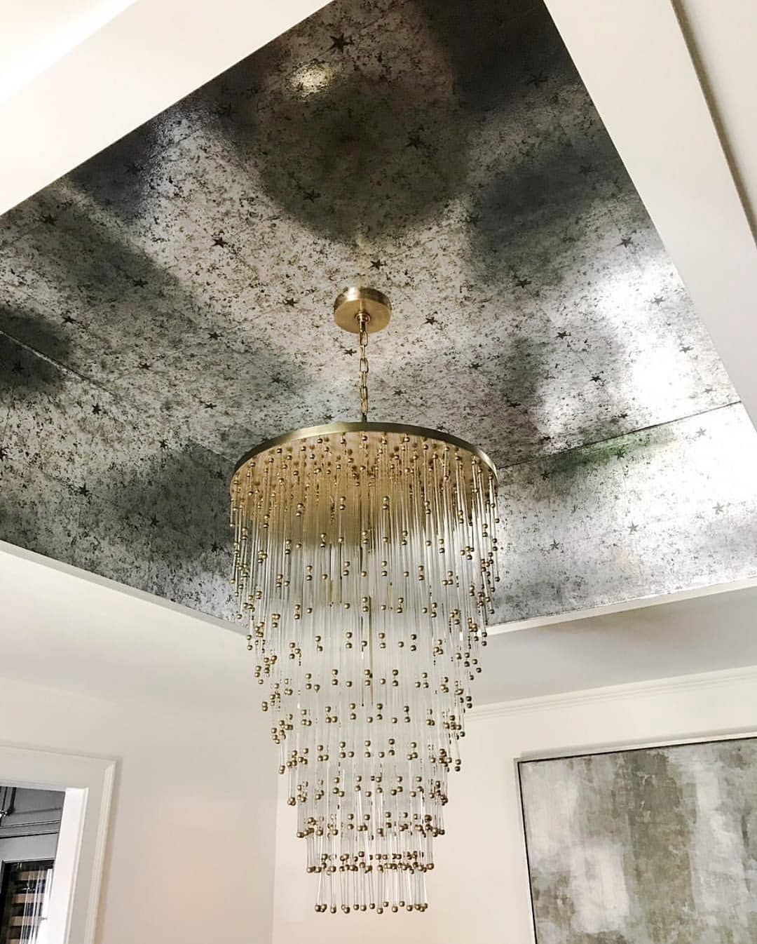 Schumacher On Instagram Sherryhdesigns Raises The Roof By Using Our Glasspaneling Wallpaper By Milesre Dark Home Decor Chandelier Design Large Chandeliers