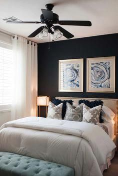 , This compact bedroom showcases a feature wall painted in black, adding drama to the space. The wall color is Sherwin Williams Inkwell—SW 6992. The p…, MySummer Combin Blog, MySummer Combin Blog