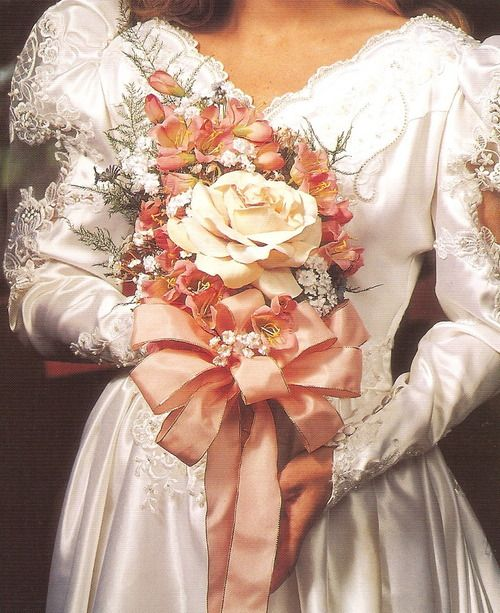 80s bridal gown and bouquet