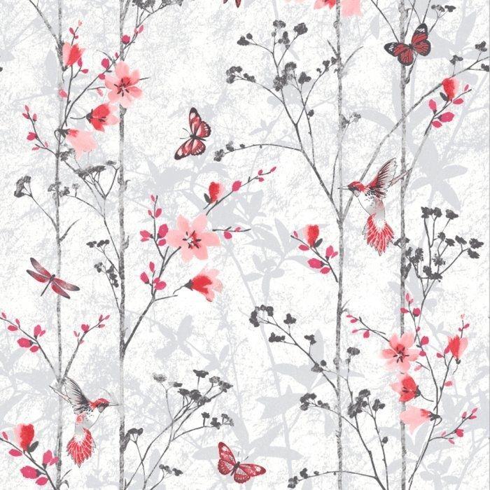Behang Vlinders Bloemen