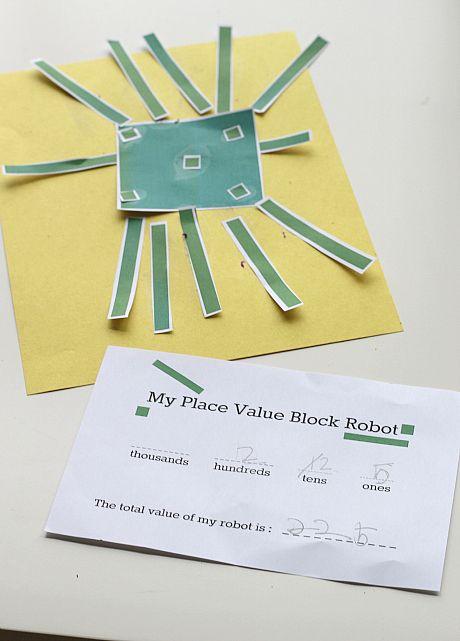 Place Value Robot Math Activity Math Activities Place Values