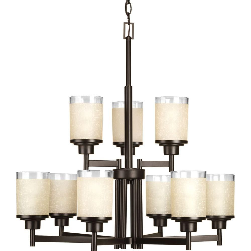 Progress Lighting Alexa Collection 9 Light Brushed Nickel Chandelier With White Linen Glass Shade P4626 09 Progress Lighting Bronze Chandelier Candle Chandelier
