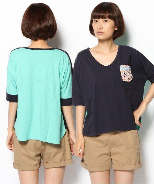 POUDOUDOU(プードゥドゥ)のバイカラードルマン半袖プルオーバー(Tシャツ・カットソー)|ネイビー