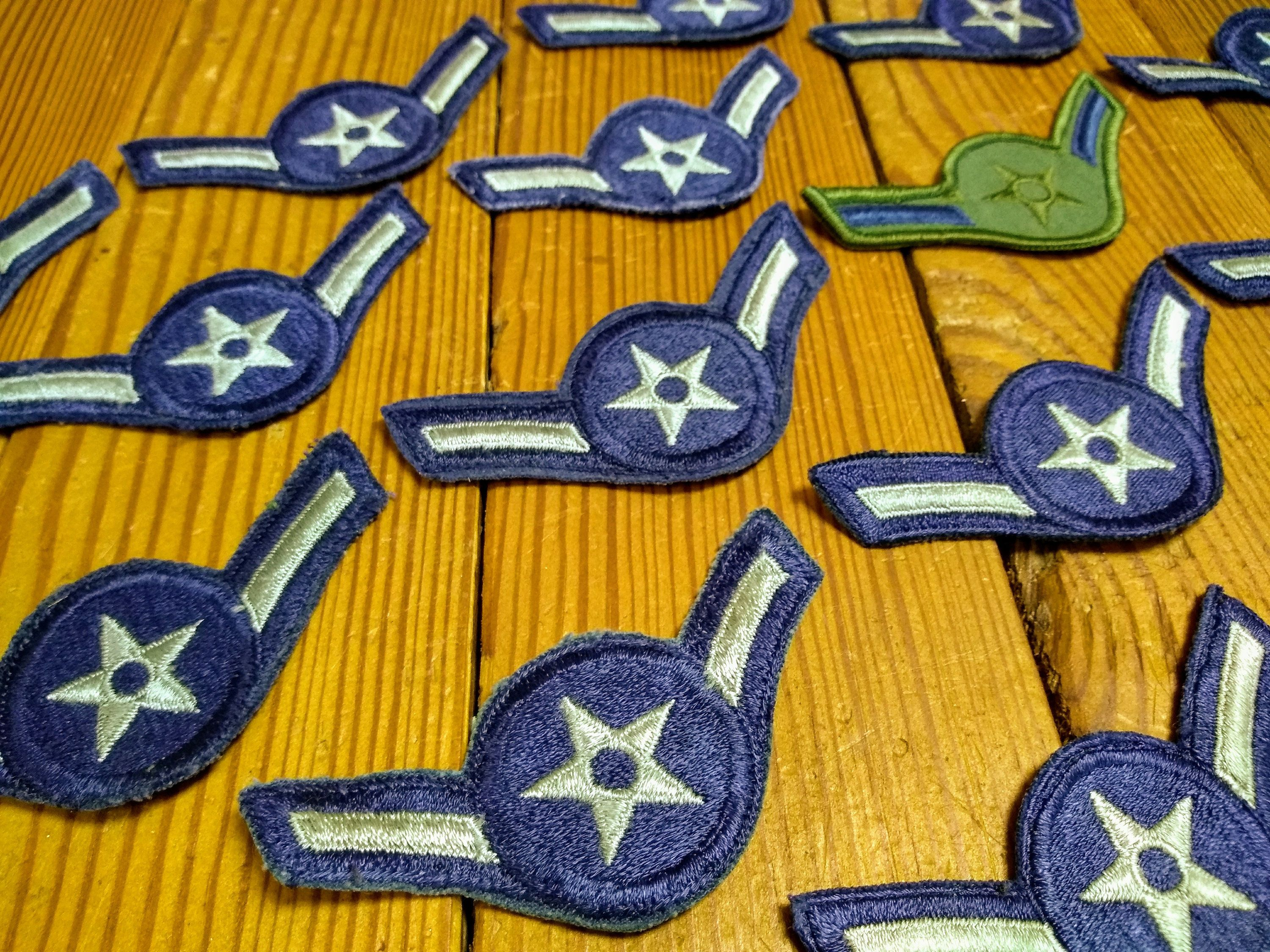 Vintage Military Patch; Airman Rank Patches; Military