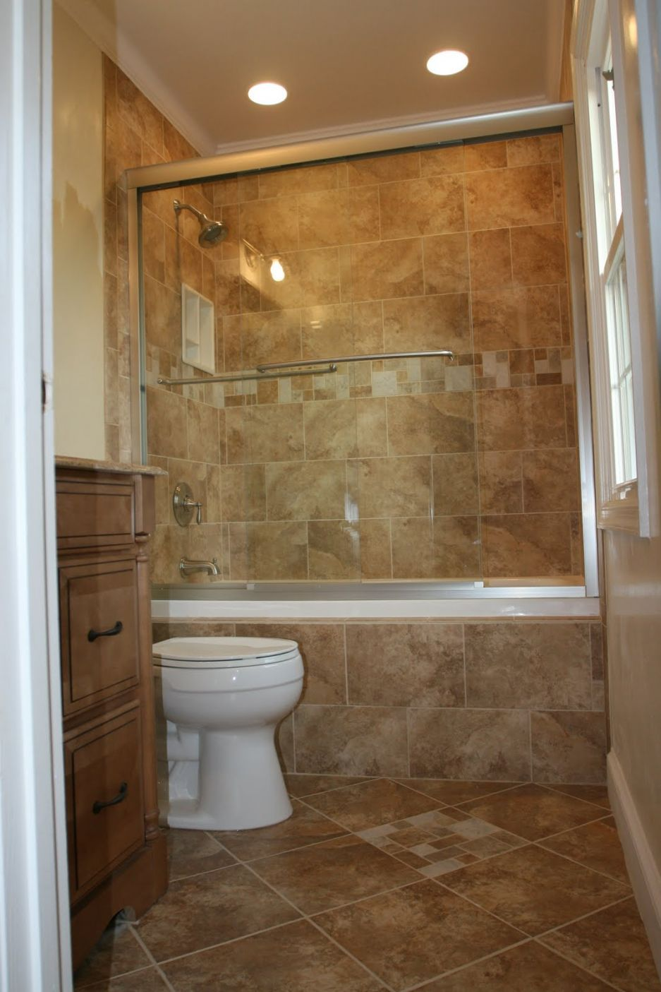 Bathroom Ideas For Small Country Bathroom Style With Brown Tile Ideas And  Bathtub Shower Combo With Small Storage Ideas / Bathroom Bathroom Ideas For  Master ... Part 98