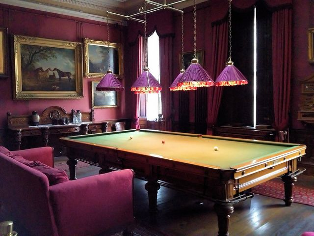 Captivating Elegant Old English Billiards Room   Love That Fuchsia Pink!