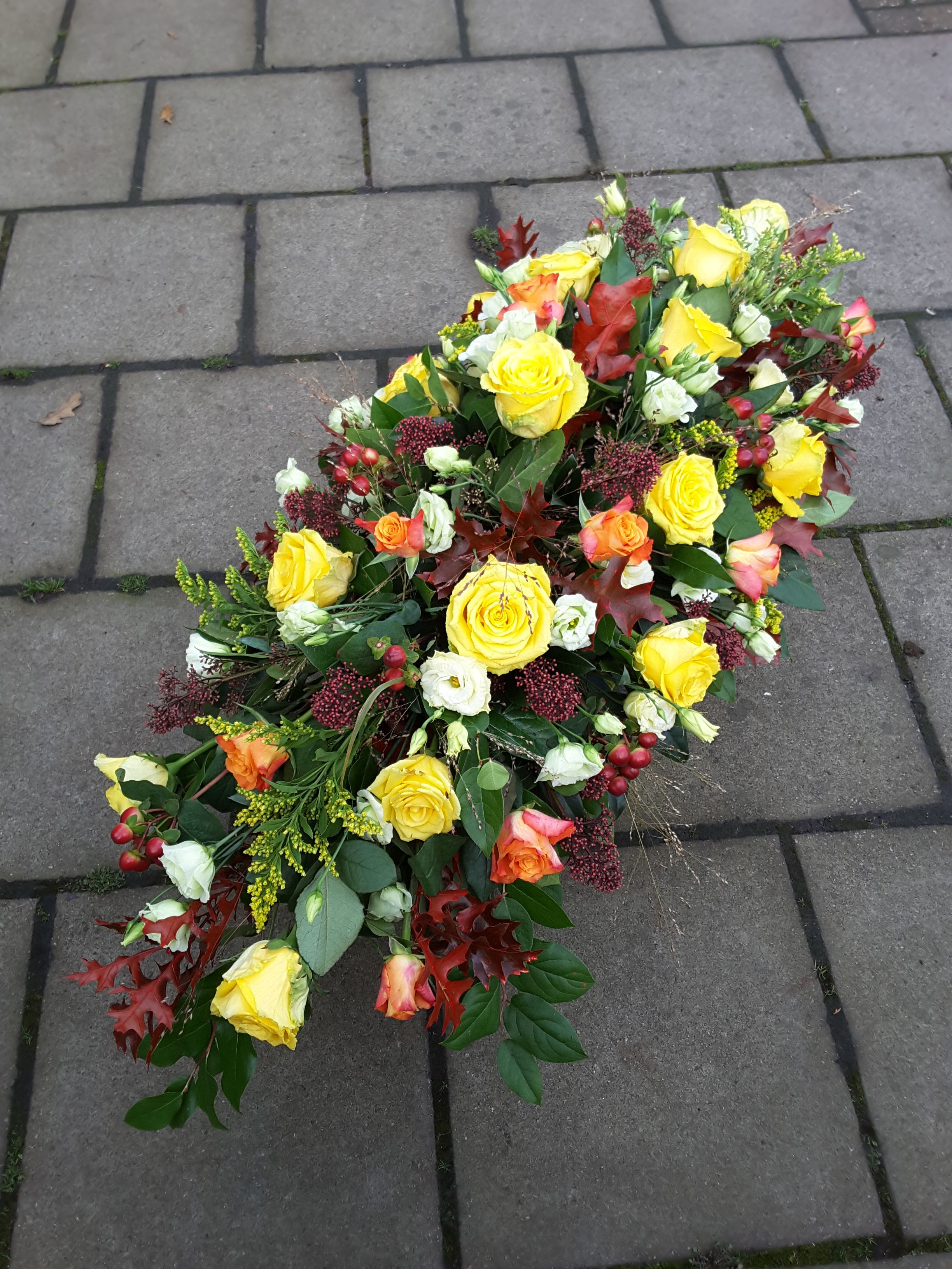 Autumnal floral Spray tribute with Roses and Lisianthus