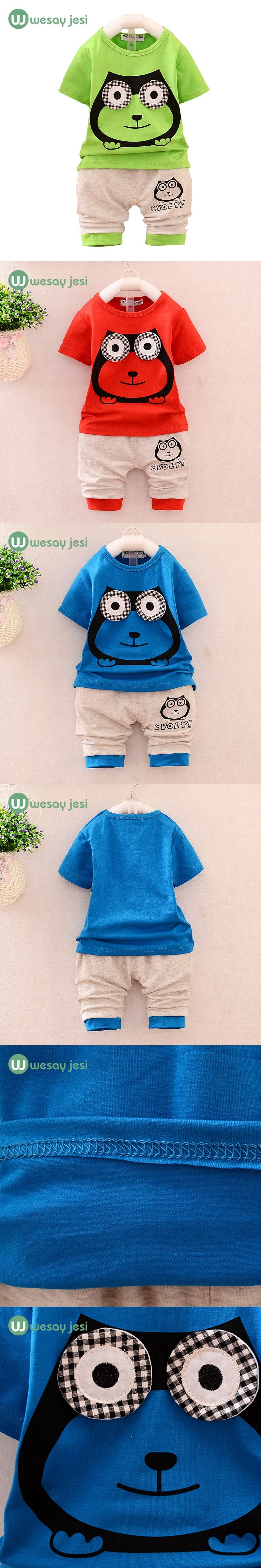 Baby boy clothes summer kids tracksuit cartoon owl short suit
