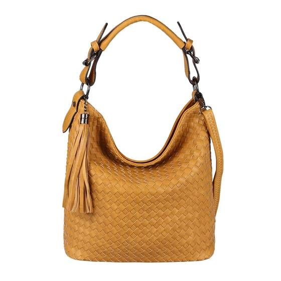 Photo of OBC Damen Flecht Tasche Handtasche Shopper Leder Optik Schultertasche  15922.Wheat
