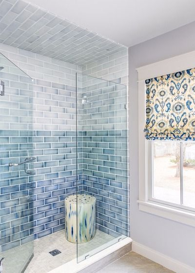 Ombre Blue Shower Tiles Cool Bathroom Idea Bathroom In