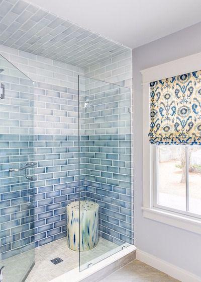 ombre blue shower tiles cool bathroom