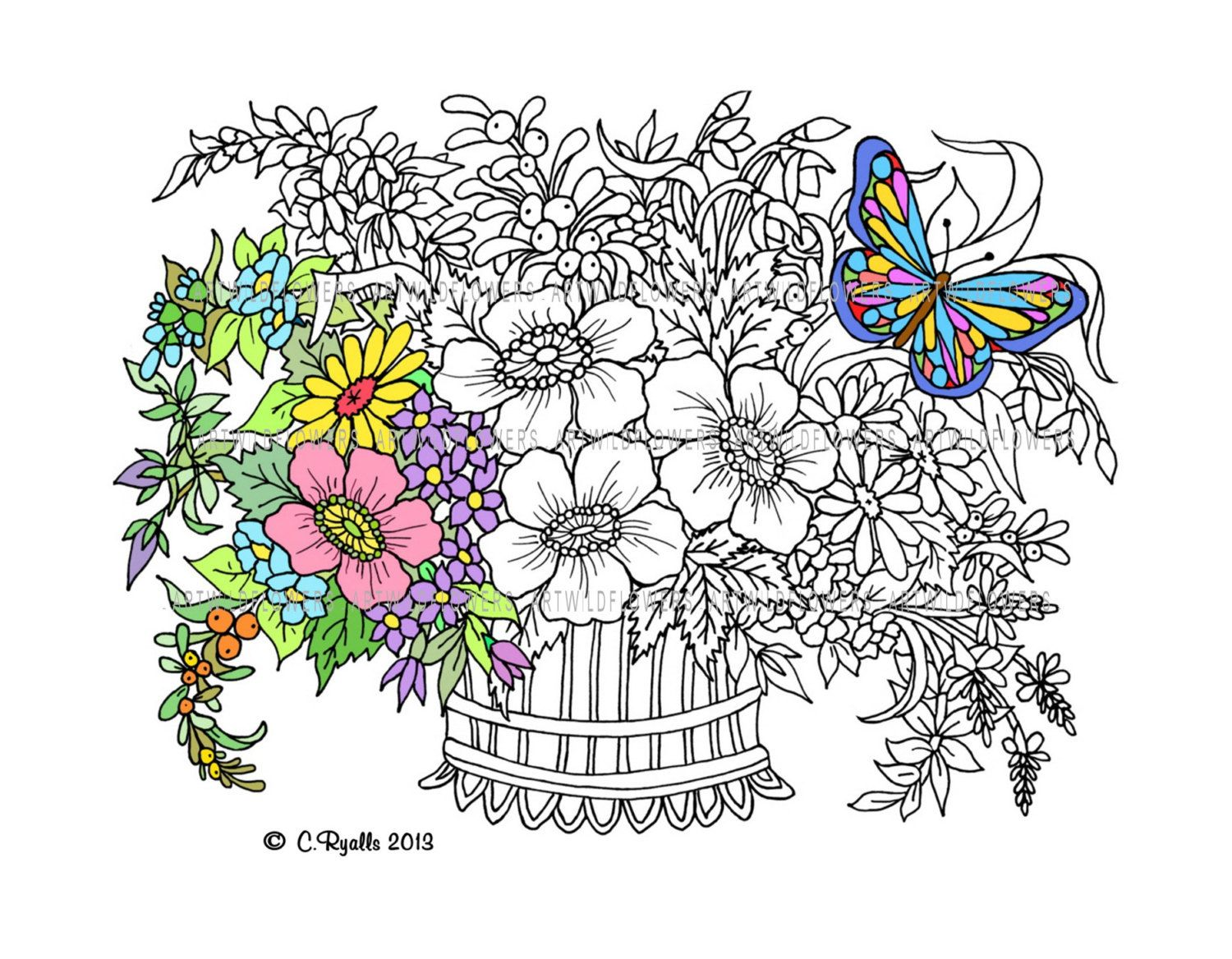Coloring pages for adults butterflies - Butterfly Garden Coloring Pages Coloring Panda